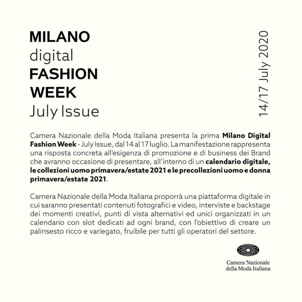 Comunicato della Camera Nazionale della Moda Italiana